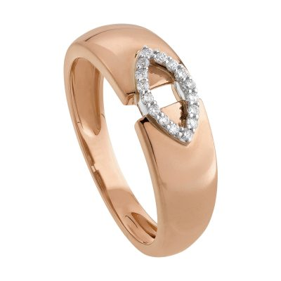 Bague or rose et motif en or blanc et diamants