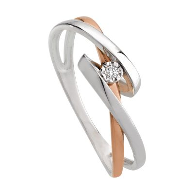 Bague diamant sur or rose entrelacé d'un lien or blanc