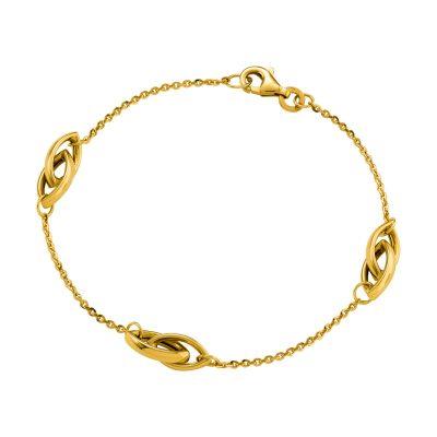 Bracelet or jaune à motifs ovales entrelacées