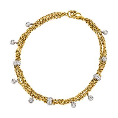 Bracelet 3 rangs maille forçat ronde or jaune et diamants sur or blanc