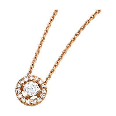 Collier diamant et entourage diamants sur or rose