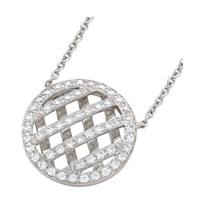 Collier au motif ajouré diamants sur or blanc