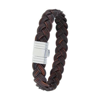 Bracelet Albanu, fermoir 696 acier tresse cuir
