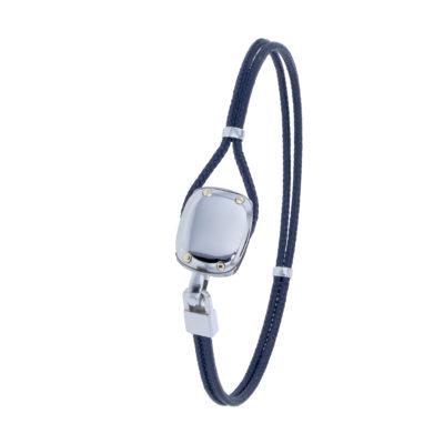 Bracelet Albanu, fermoir petite poulie acier cordon marin