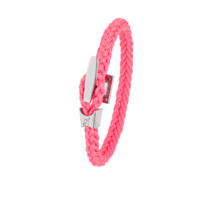 Bracelet Albanu, fermoir taquet acier tresse cordon marin rose