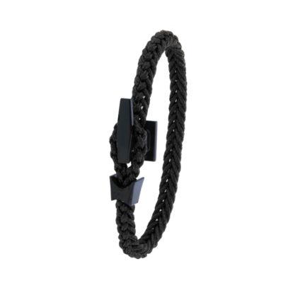Bracelet Albanu, fermoir taquet acier PVD noir tresse cordon marin
