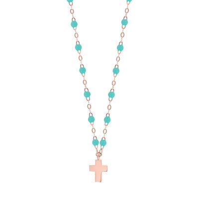 Collier gigiCLOZEAU pendentif croix en or et perles de résine turquoise vert