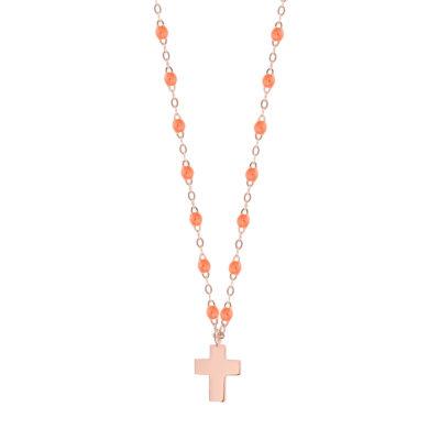 Collier gigiCLOZEAU pendentif croix en or et perles de résine orange