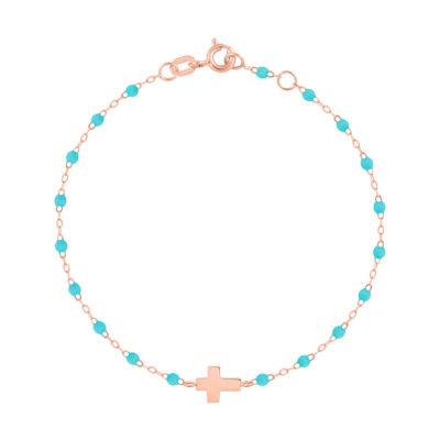 Bracelet gigiCLOZEAU croix en or rose et perles de résine turquoise