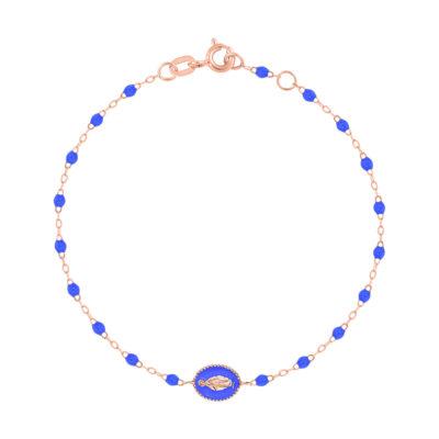 """Bracelet gigiCLOZEAU """"madone"""" et perles de résine bleuet"""