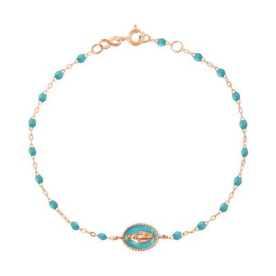 """Bracelet gigiCLOZEAU """"madone"""" et perles de résine turquoise vert"""