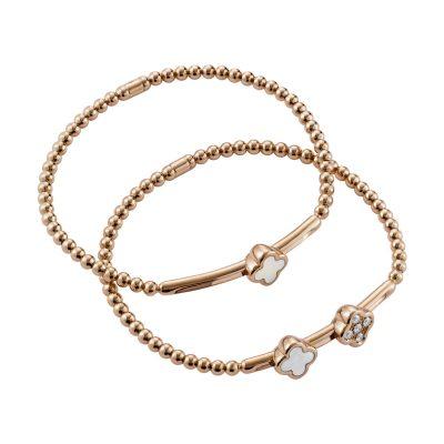 Bracelet aux motifs fleur nacre et diamants sur or rose