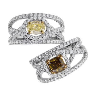 Bague diamant fancy yellow et diamants