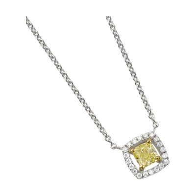 Collier or blanc, diamant fancy yellow entourage diamants