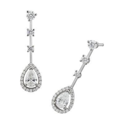 Boucles d'oreilles diamant poire avec entourage diamants