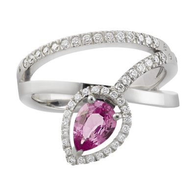 Bague saphir rose et diamants sur or blanc