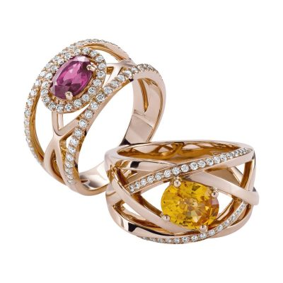 Bague saphir rose entourage et diamants
