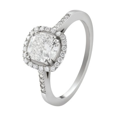 Solitaire diamant avec entourage diamants