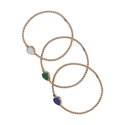 Bracelet en or rose, malachite et peridot