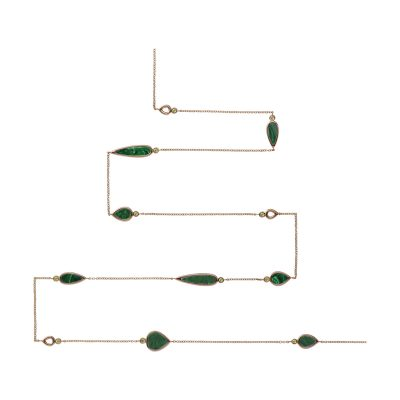 Collier sautoir malachites et peridots sur or rose