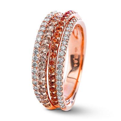Bague diamants blancs et bruns et saphirs oranges en or rose