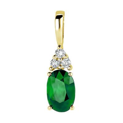 Pendentif émeraude et diamants sur or jaune