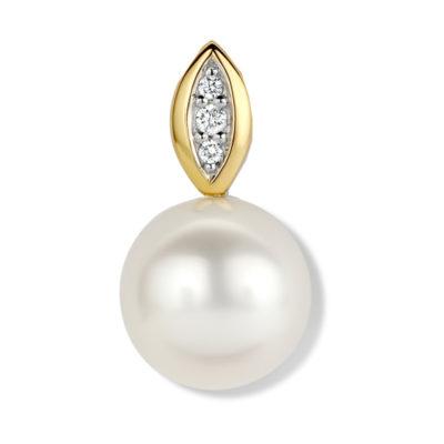 Pendentif Perle d'eau douce et diamants sur or jaune
