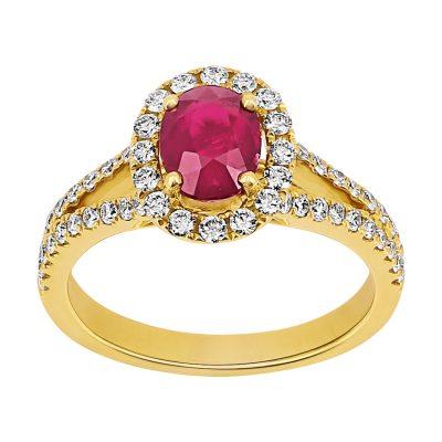 Bague rubis et diamants sur or jaune