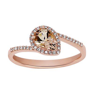 Bague morganite et diamants sur or rose