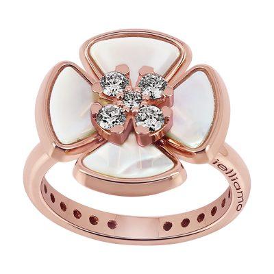 """Bague """"Fleur"""" nacre et diamants sur or rose"""