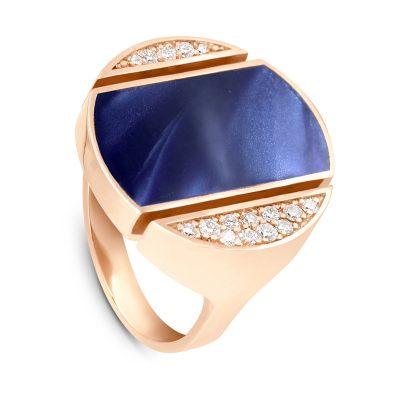 Bague Athéna diamants et résine bleue