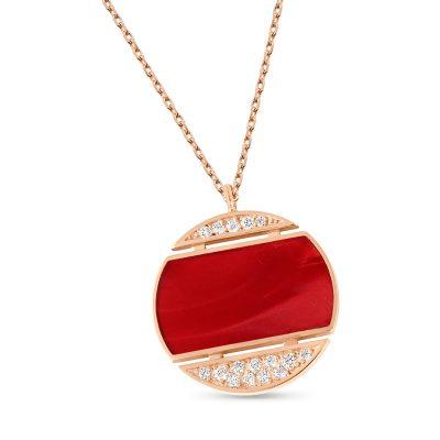 Collier Athéna diamants et résine rouge