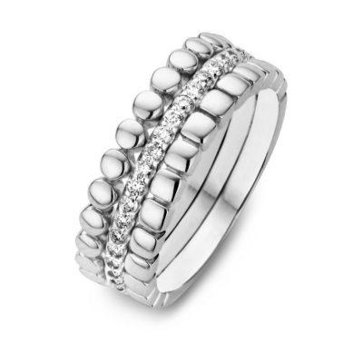Bague 3 rangs avec diamants sur or blanc