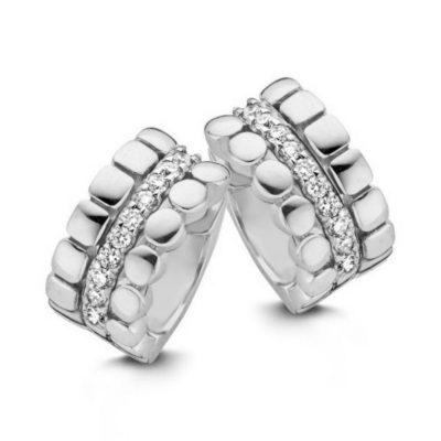 Créoles 3 rangs avec diamants sur or blanc