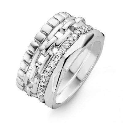 Bague 4 rangs avec diamants sur or blanc