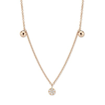 Collier diamants sur rose
