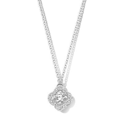 Collier trèfle diamants sur or blanc