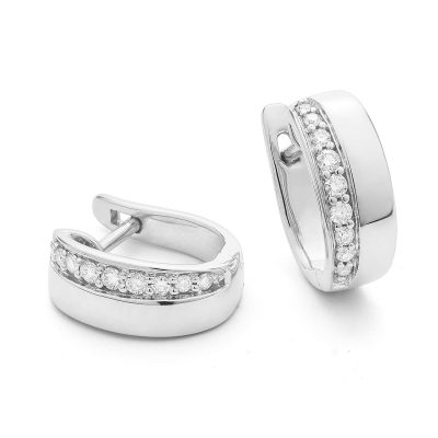 Créoles Diamants sur or blanc