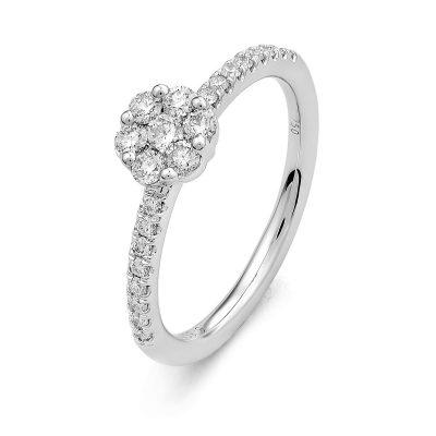 Bague multi-diamants sur or blanc