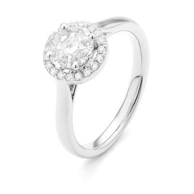 Bague Diamants entourage diamants sur or blanc